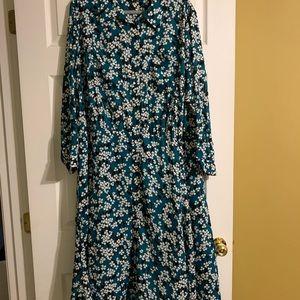 Gorgeous blue-green floral dress.